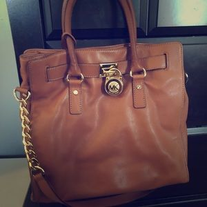 MIchael Kors Hamilton Cognac Leather bag AUTHENTIC